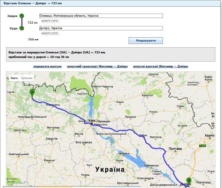 Відстань від Олевська до Дніпра