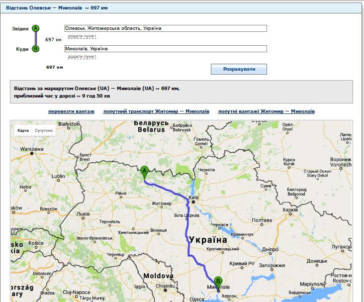 Відстань від Олевська до Миколаева