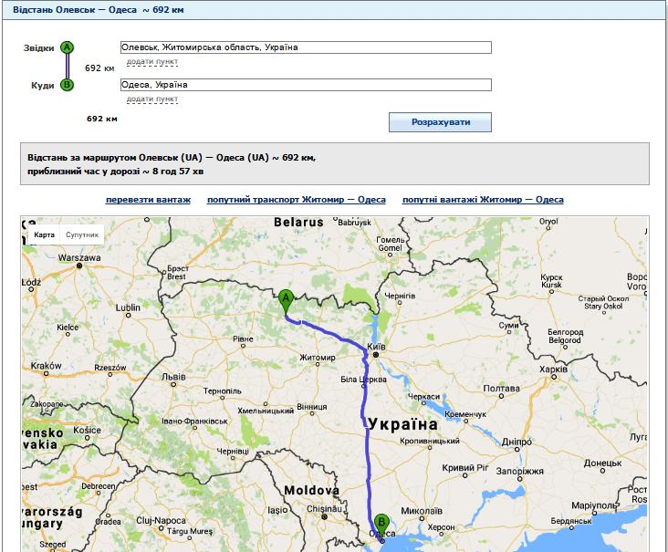 Відстань від Олевська до Одеси