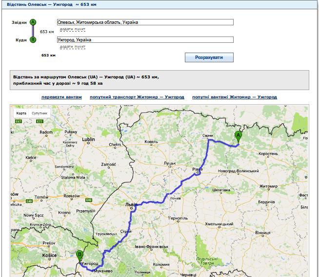 Відстань від Олевська до Ужгорода