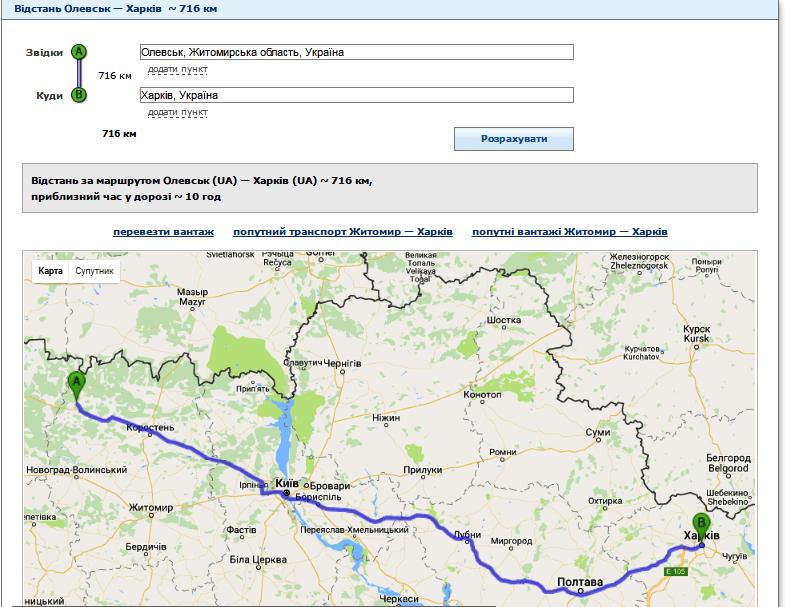 Відстань від Олевська до Харкова